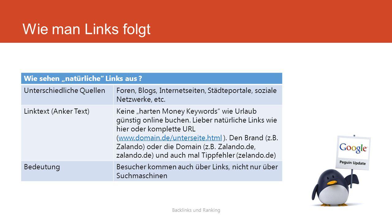 """Wie man Links folgt Backlinks und Ranking Wie sehen """"natürliche"""" Links aus ? Unterschiedliche QuellenForen, Blogs, Internetseiten, Städteportale, sozi"""