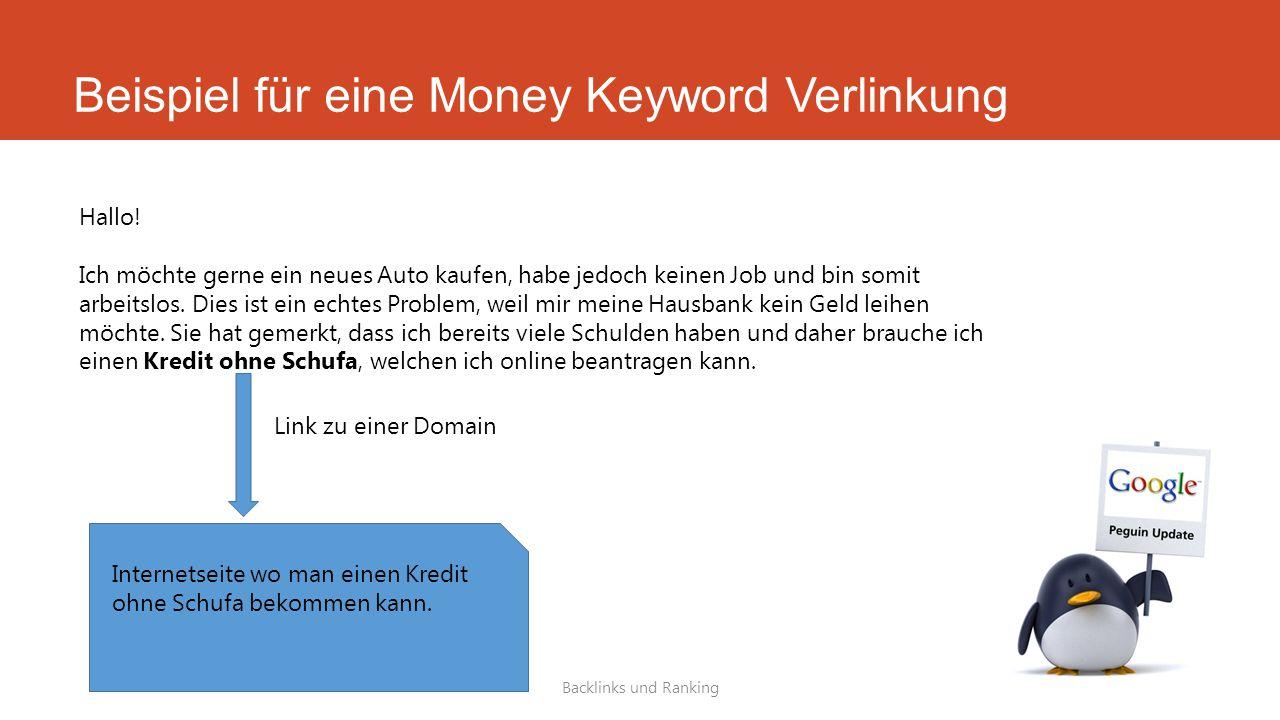Beispiel für eine Money Keyword Verlinkung Backlinks und Ranking Hallo! Ich möchte gerne ein neues Auto kaufen, habe jedoch keinen Job und bin somit a