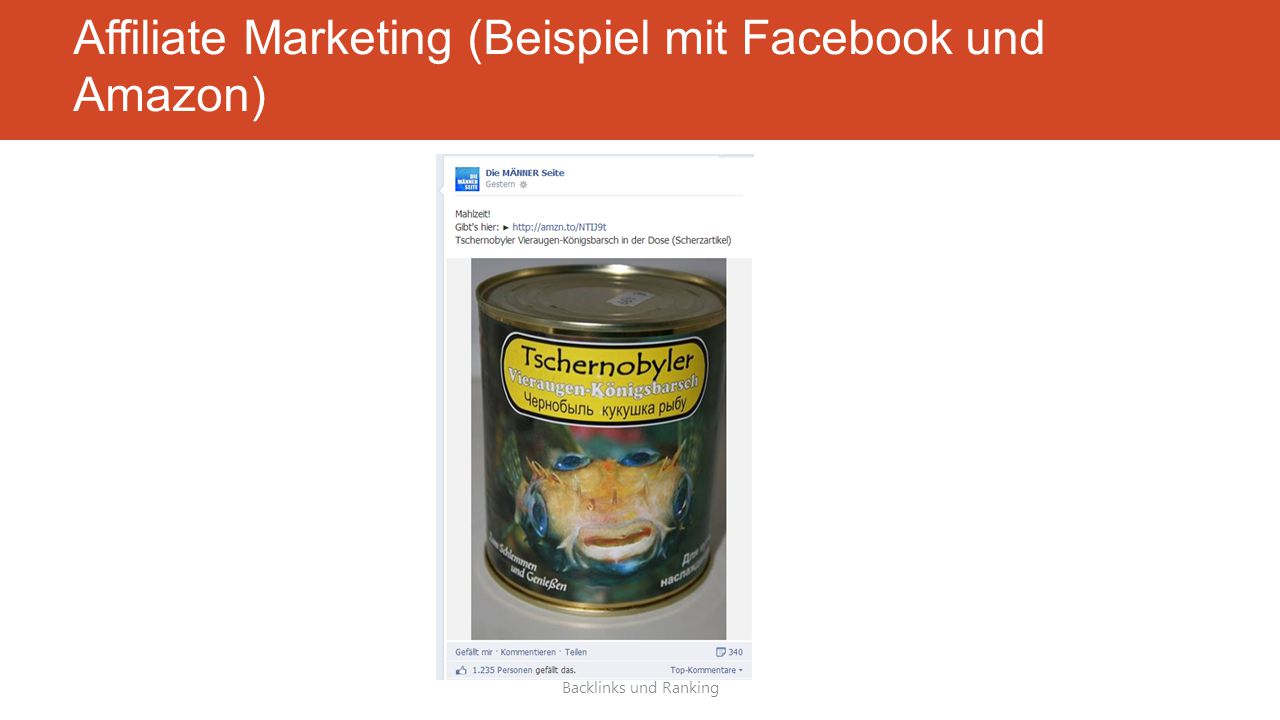 Affiliate Marketing (Beispiel mit Facebook und Amazon) Backlinks und Ranking