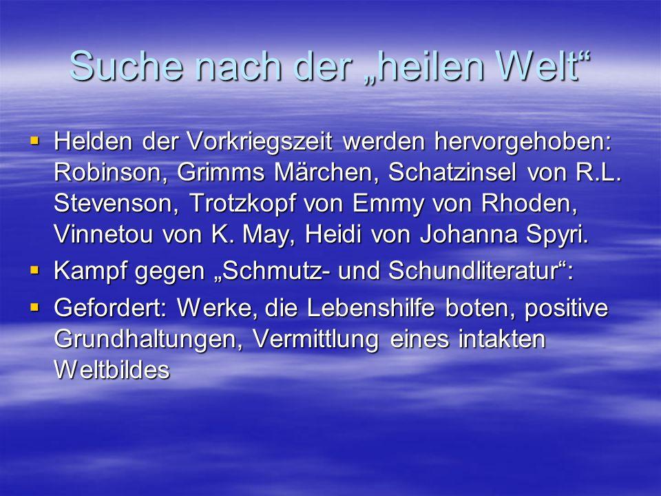 """KJL der DDR  Erwin Strittmatter (1912-1994): """"Tinko (1954)  Thematisierte Zeitgeschichte  Stephan Hermlin (1915-1997): """"Die erste Reihe (1951)  Dieter Noll (*1927): """"Abenteuer des Werner Holt (1960)  Rückzug ins Private  Janosch (*1931): """"Oh wie schön ist Panama (1978)  Karin König (*1946): """"Ich fühle mich so fifty fifty (1991)"""