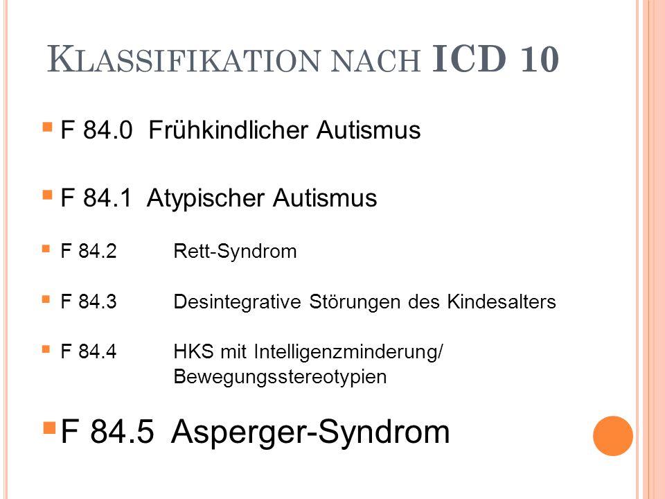 K LASSIFIKATION NACH ICD 10  F 84.0 Frühkindlicher Autismus  F 84.1 Atypischer Autismus  F 84.2Rett-Syndrom  F 84.3Desintegrative Störungen des Ki