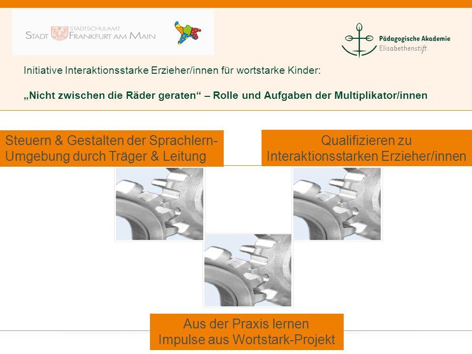 """Initiative Interaktionsstarke Erzieher/innen für wortstarke Kinder: """"Nicht zwischen die Räder geraten"""" – Rolle und Aufgaben der Multiplikator/innen St"""