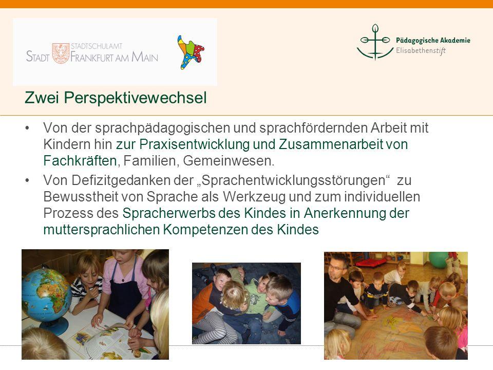 Zwei Perspektivewechsel Von der sprachpädagogischen und sprachfördernden Arbeit mit Kindern hin zur Praxisentwicklung und Zusammenarbeit von Fachkräft
