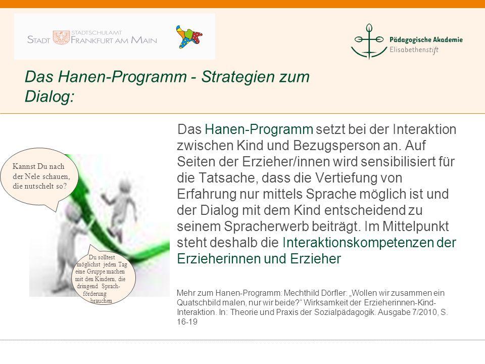 Das Hanen-Programm - Strategien zum Dialog: Das Hanen-Programm setzt bei der Interaktion zwischen Kind und Bezugsperson an. Auf Seiten der Erzieher/in