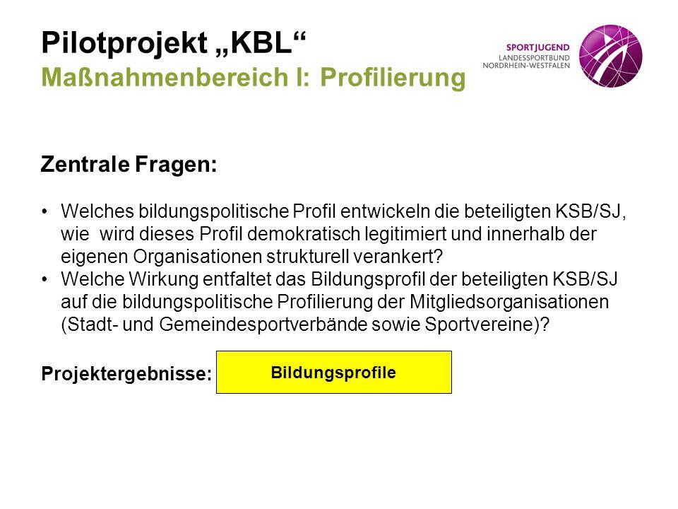 """Pilotprojekt """"KBL"""" Maßnahmenbereich I: Profilierung Zentrale Fragen: Welches bildungspolitische Profil entwickeln die beteiligten KSB/SJ, wie wird die"""
