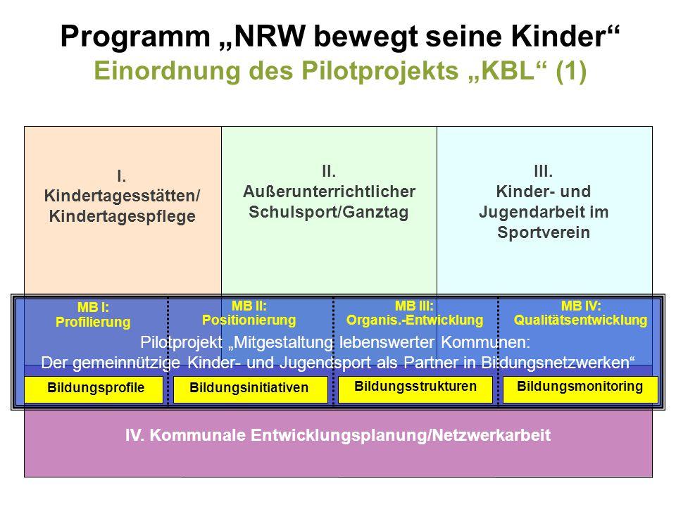 IV. Kommunale Entwicklungsplanung/Netzwerkarbeit III. Kinder- und Jugendarbeit im Sportverein II. Außerunterrichtlicher Schulsport/Ganztag I. Kinderta