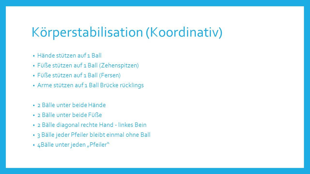 Körperstabilisation (Koordinativ) Hände stützen auf 1 Ball Füße stützen auf 1 Ball (Zehenspitzen) Füße stützen auf 1 Ball (Fersen) Arme stützen auf 1