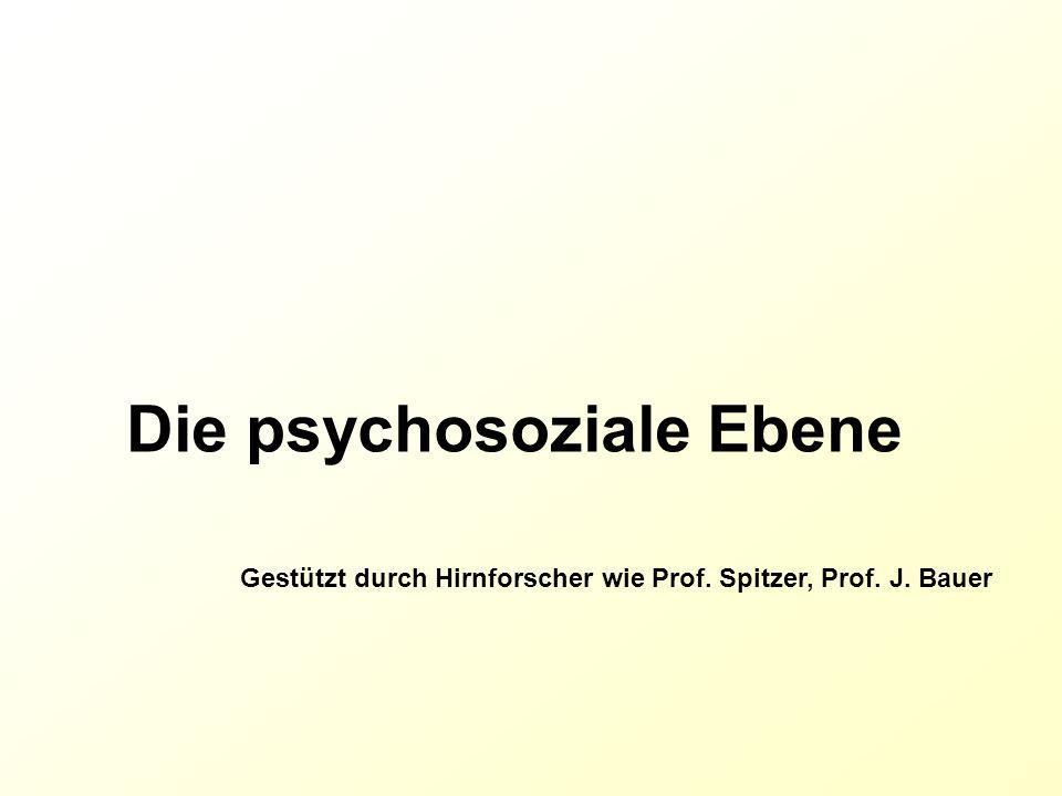 Die psychosoziale Ebene Gestützt durch Hirnforscher wie Prof. Spitzer, Prof. J. Bauer