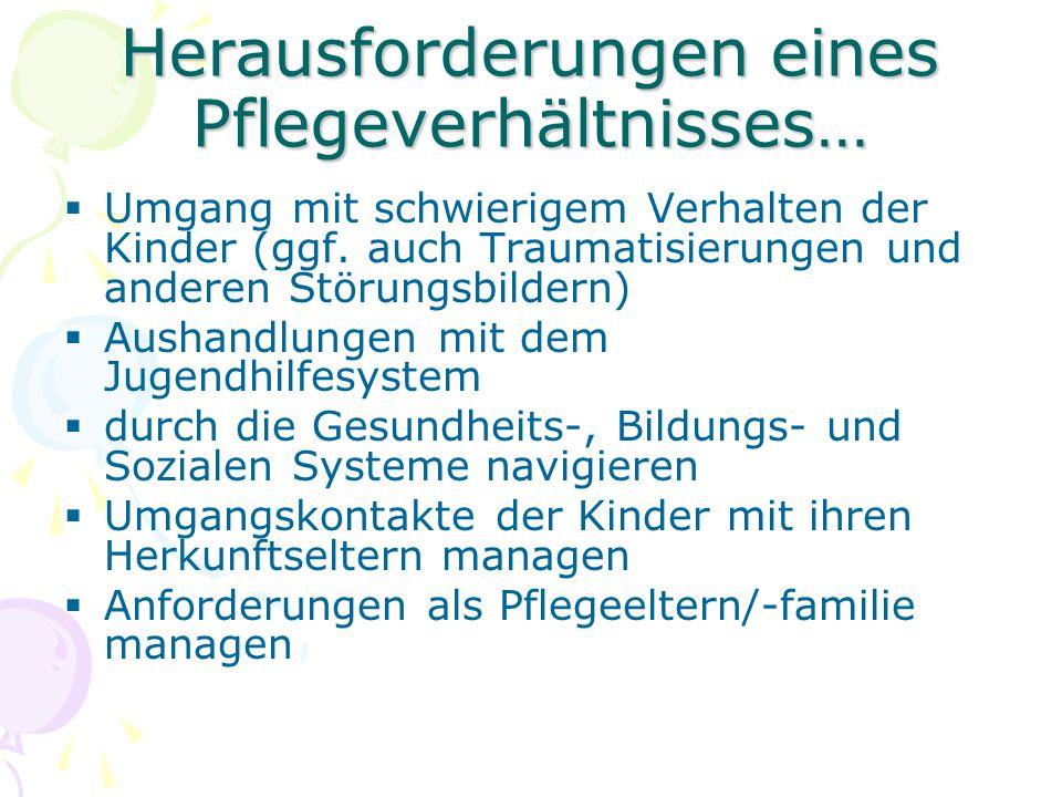 Herausforderungen eines Pflegeverhältnisses…  Umgang mit schwierigem Verhalten der Kinder (ggf.