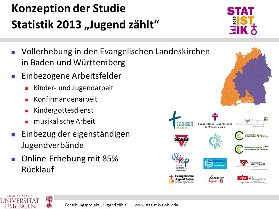 """Forschungsprojekt """"Jugend zählt"""" – www.statistik-ev-bw.de Konzeption der Studie Statistik 2013 """"Jugend zählt"""" Vollerhebung in den Evangelischen Landes"""