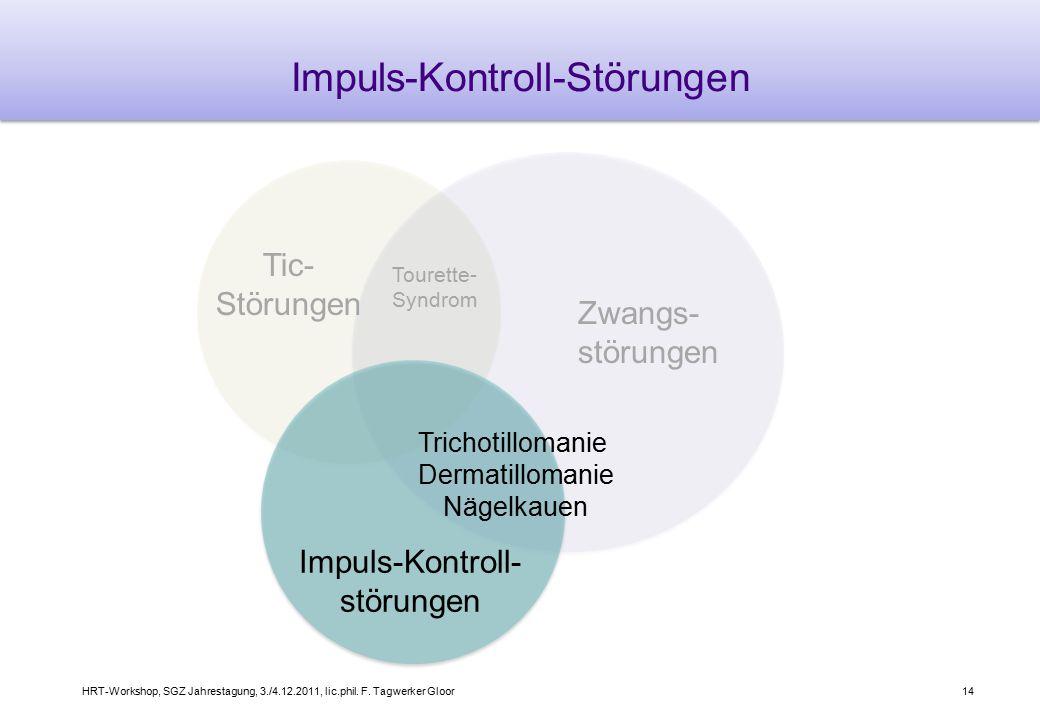 HRT-Workshop, SGZ Jahrestagung, 3./4.12.2011, lic.phil. F. Tagwerker Gloor14 Impuls-Kontroll-Störungen Zwangs- störungen Tic- Störungen Impuls-Kontrol