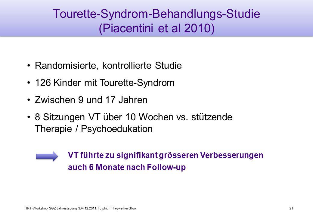 HRT-Workshop, SGZ Jahrestagung, 3./4.12.2011, lic.phil. F. Tagwerker Gloor21 Tourette-Syndrom-Behandlungs-Studie (Piacentini et al 2010) Randomisierte