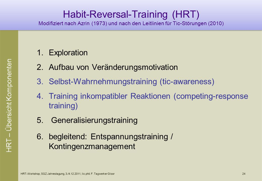 HRT-Workshop, SGZ Jahrestagung, 3./4.12.2011, lic.phil. F. Tagwerker Gloor24 Habit-Reversal-Training (HRT) Modifiziert nach Azrin (1973) und nach den