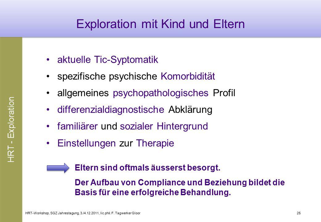 HRT-Workshop, SGZ Jahrestagung, 3./4.12.2011, lic.phil. F. Tagwerker Gloor25 Exploration mit Kind und Eltern aktuelle Tic-Syptomatik spezifische psych