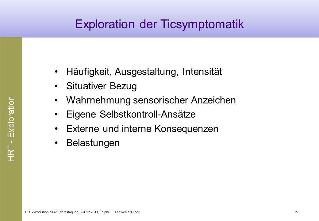 HRT-Workshop, SGZ Jahrestagung, 3./4.12.2011, lic.phil. F. Tagwerker Gloor27 Exploration der Ticsymptomatik Häufigkeit, Ausgestaltung, Intensität Situ