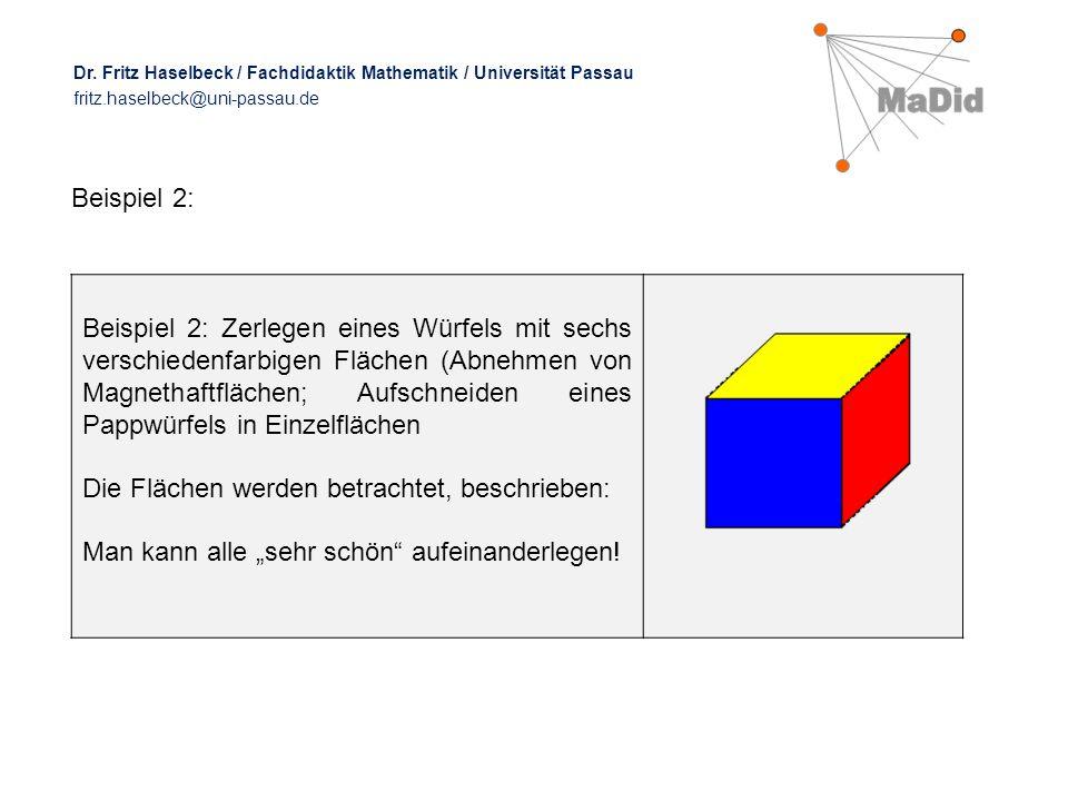 """Beispiel 2: Beispiel 2: Zerlegen eines Würfels mit sechs verschiedenfarbigen Flächen (Abnehmen von Magnethaftflächen; Aufschneiden eines Pappwürfels in Einzelflächen Die Flächen werden betrachtet, beschrieben: Man kann alle """"sehr schön aufeinanderlegen."""