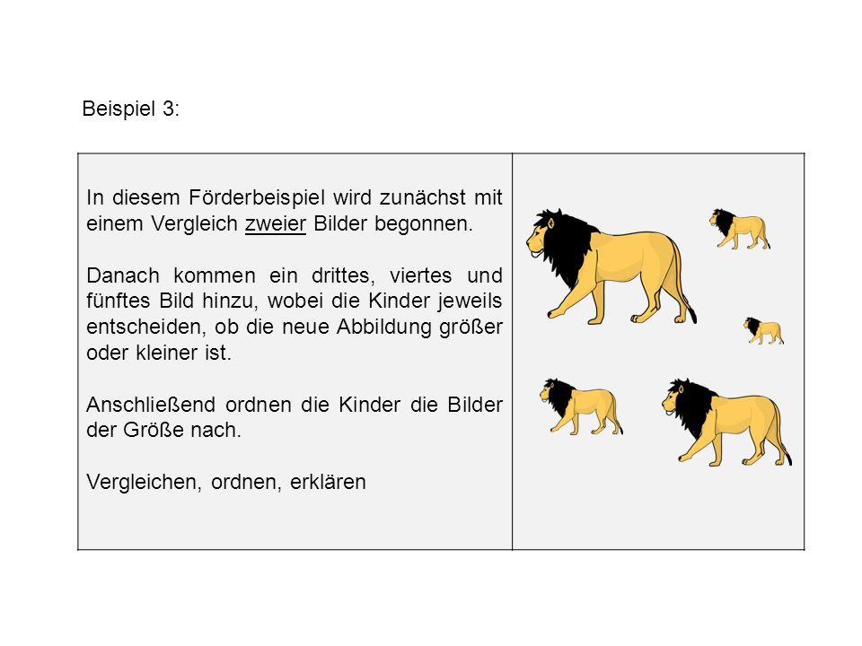 Beispiel 3: In diesem Förderbeispiel wird zunächst mit einem Vergleich zweier Bilder begonnen. Danach kommen ein drittes, viertes und fünftes Bild hin