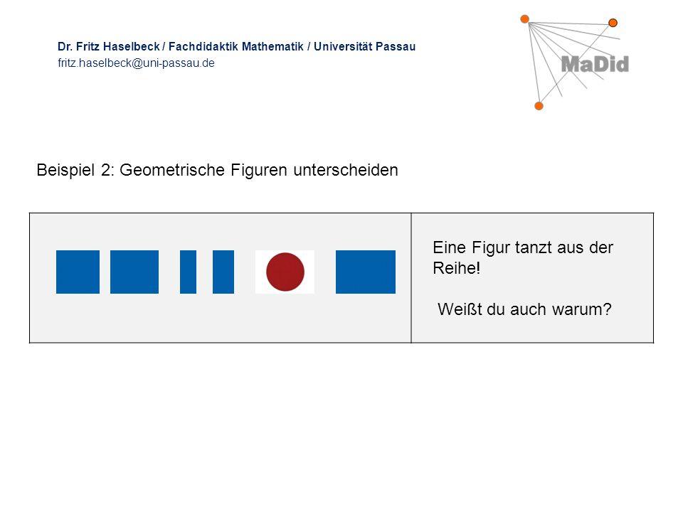 Eine Figur tanzt aus der Reihe! Weißt du auch warum? Beispiel 2: Geometrische Figuren unterscheiden Dr. Fritz Haselbeck / Fachdidaktik Mathematik / Un