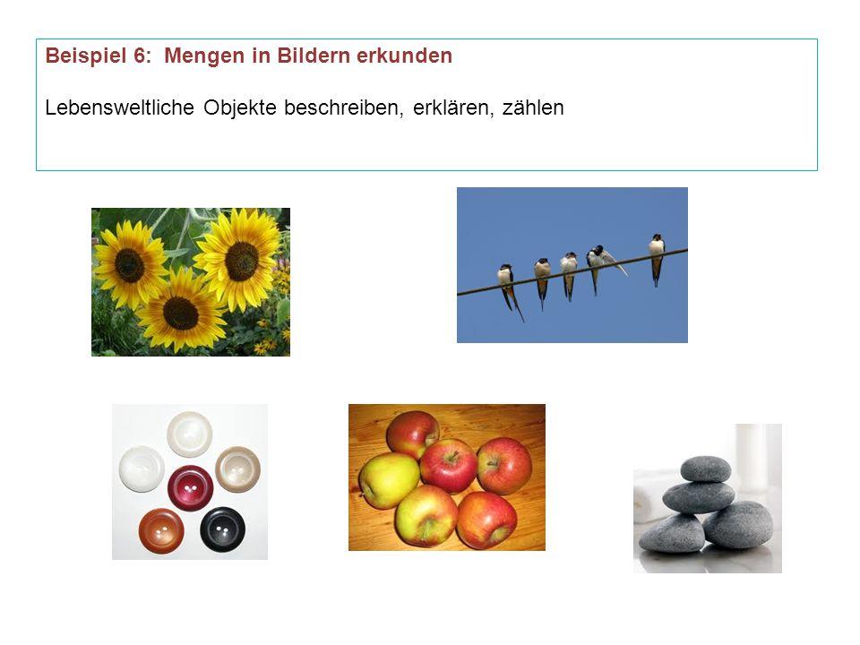 Beispiel 6: Mengen in Bildern erkunden Lebensweltliche Objekte beschreiben, erklären, zählen