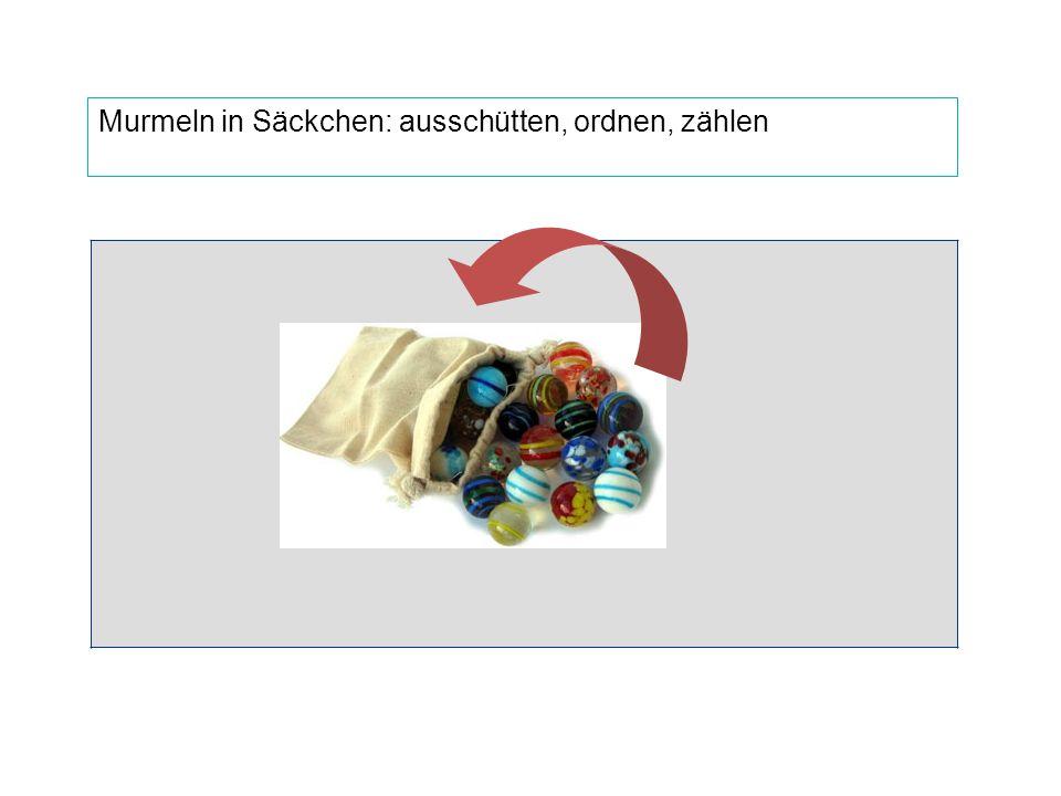 """""""Verpacken"""" von Gegenständen: Zehner-Bündel Murmeln in Säckchen: ausschütten, ordnen, zählen"""