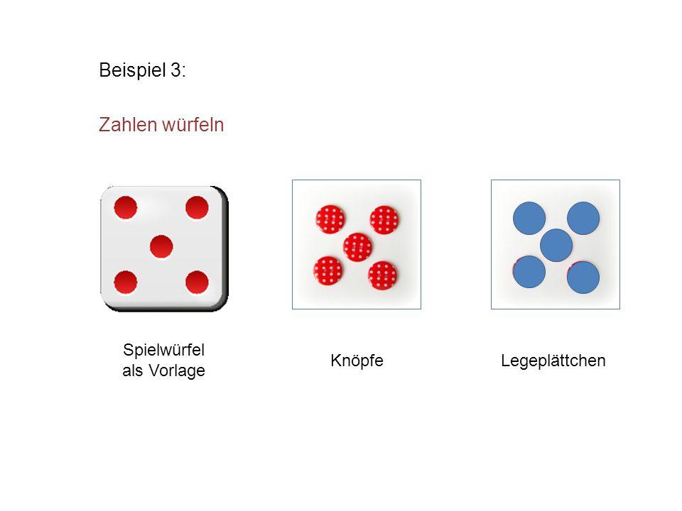 Beispiel 3: Zahlen würfeln Knöpfe Spielwürfel als Vorlage Legeplättchen