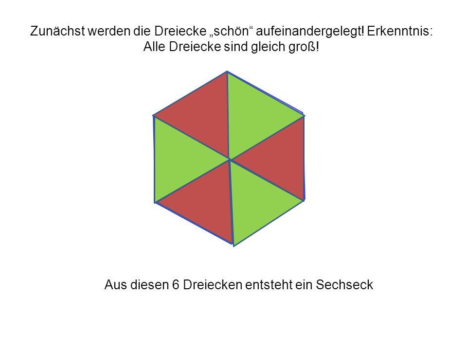 """Aus diesen 6 Dreiecken entsteht ein Sechseck Zunächst werden die Dreiecke """"schön"""" aufeinandergelegt! Erkenntnis: Alle Dreiecke sind gleich groß!"""