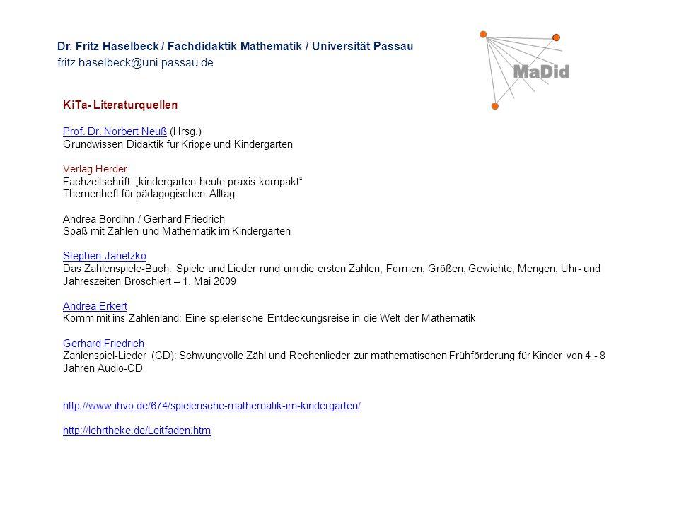 KiTa- Literaturquellen Prof. Dr. Norbert NeußProf. Dr. Norbert Neuß (Hrsg.) Grundwissen Didaktik für Krippe und Kindergarten Verlag Herder Fachzeitsch