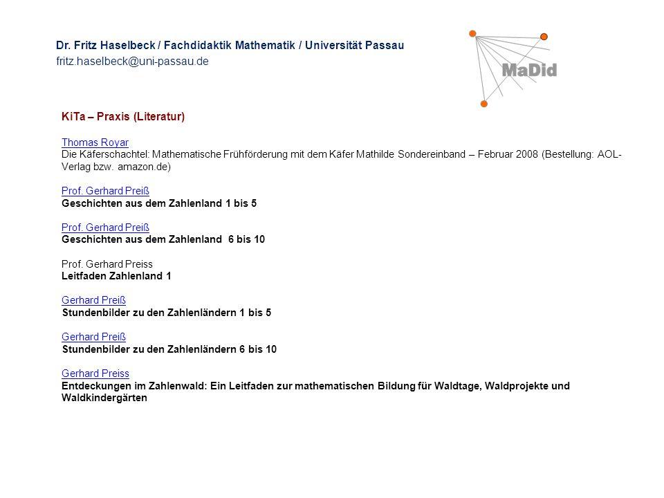 KiTa – Praxis (Literatur) Thomas Royar Die Käferschachtel: Mathematische Frühförderung mit dem Käfer Mathilde Sondereinband – Februar 2008 (Bestellung: AOL- Verlag bzw.