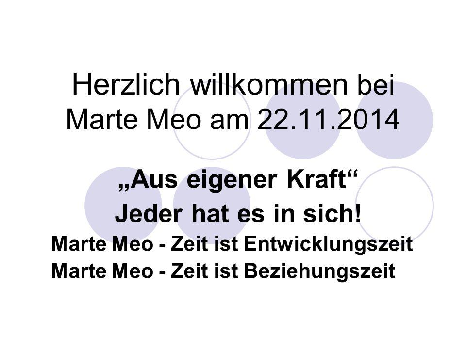 """Herzlich willkommen bei Marte Meo am 22.11.2014 """"Aus eigener Kraft"""" Jeder hat es in sich! Marte Meo - Zeit ist Entwicklungszeit Marte Meo - Zeit ist B"""
