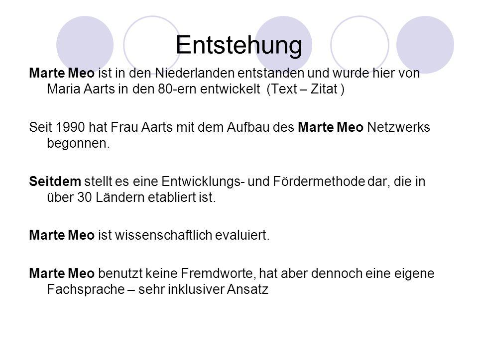Entstehung Marte Meo ist in den Niederlanden entstanden und wurde hier von Maria Aarts in den 80-ern entwickelt (Text – Zitat ) Seit 1990 hat Frau Aar