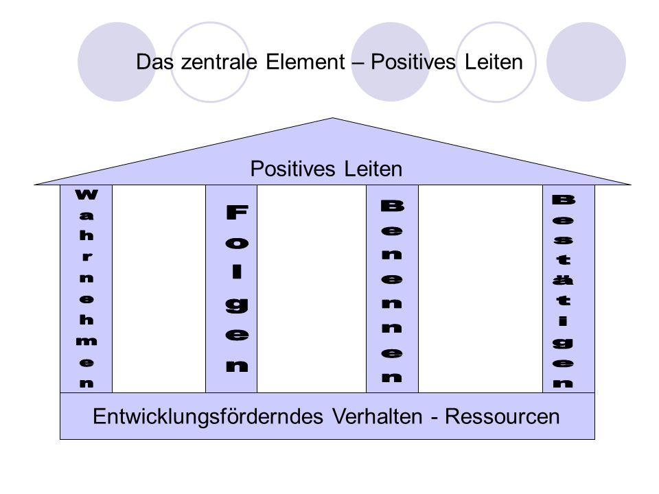 Das zentrale Element – Positives Leiten Positives Leiten Entwicklungsförderndes Verhalten - Ressourcen