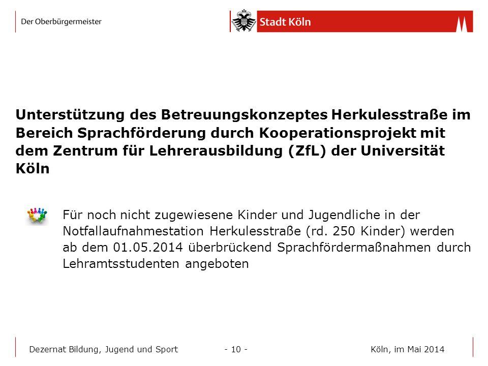 Unterstützung des Betreuungskonzeptes Herkulesstraße im Bereich Sprachförderung durch Kooperationsprojekt mit dem Zentrum für Lehrerausbildung (ZfL) d