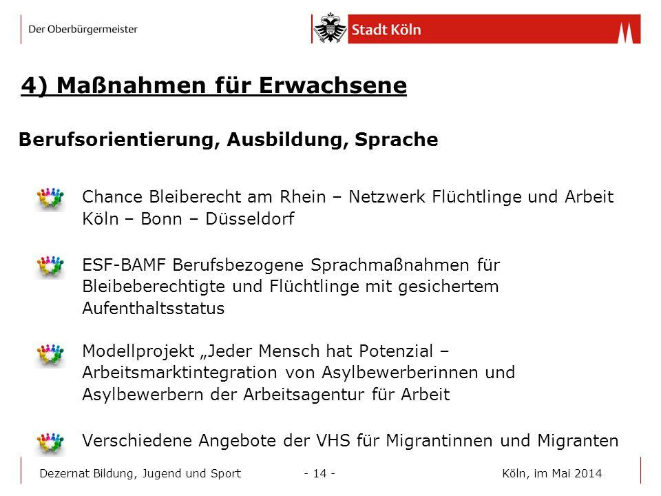 4) Maßnahmen für Erwachsene Berufsorientierung, Ausbildung, Sprache Chance Bleiberecht am Rhein – Netzwerk Flüchtlinge und Arbeit Köln – Bonn – Düssel