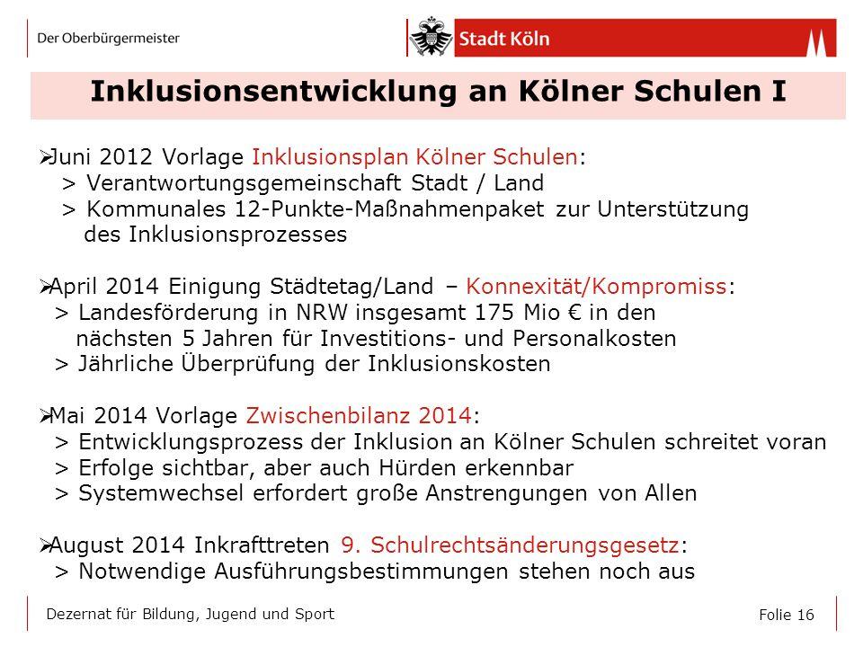Folie 16 Dezernat für Bildung, Jugend und Sport Inklusionsentwicklung an Kölner Schulen I  Juni 2012 Vorlage Inklusionsplan Kölner Schulen: > Verantw