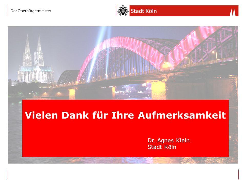 Vielen Dank für Ihre Aufmerksamkeit Dr. Agnes Klein Stadt Köln