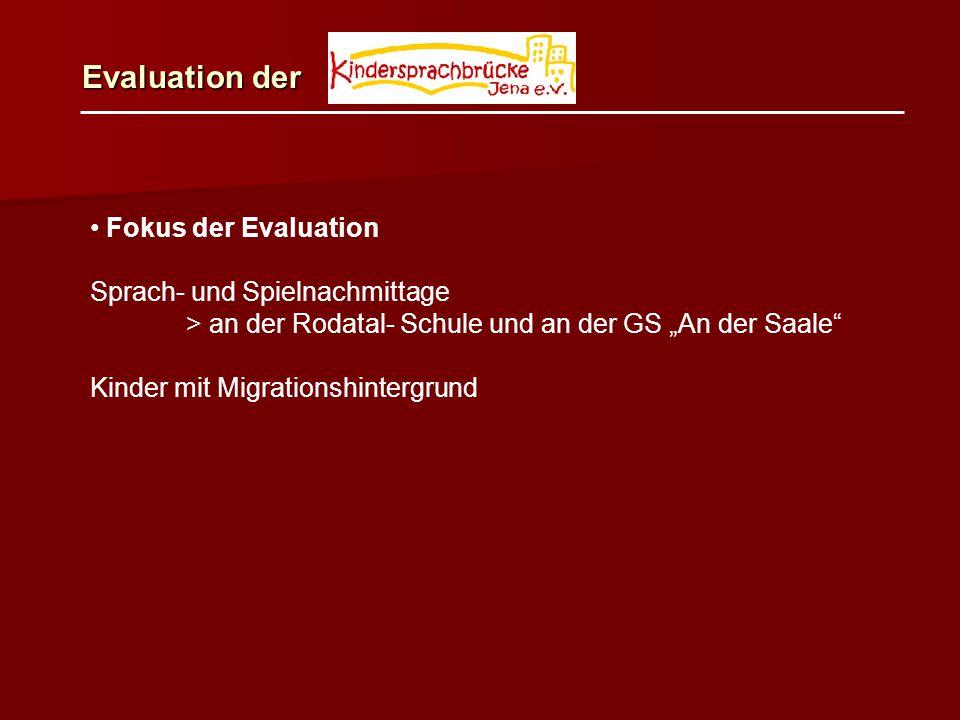 """Fokus der Evaluation Sprach- und Spielnachmittage > an der Rodatal- Schule und an der GS """"An der Saale"""" Kinder mit Migrationshintergrund Evaluation de"""