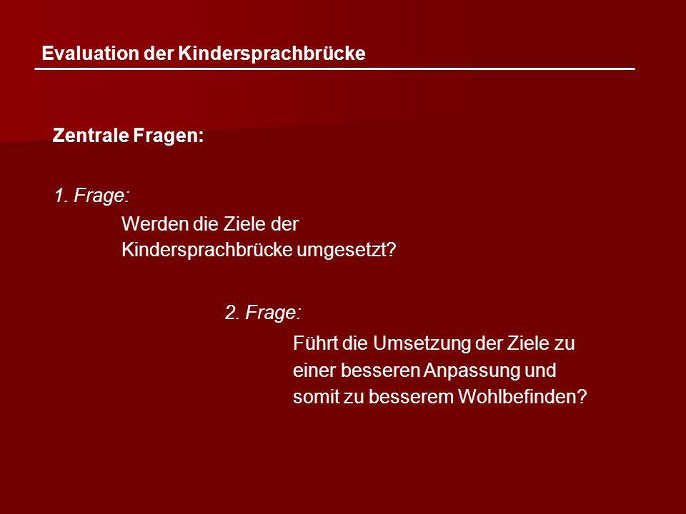 Evaluation der Kindersprachbrücke Zentrale Fragen: 1. Frage: Werden die Ziele der Kindersprachbrücke umgesetzt? 2. Frage: Führt die Umsetzung der Ziel