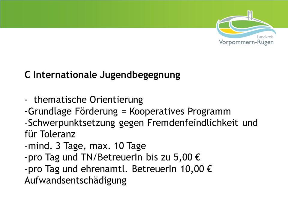 C Internationale Jugendbegegnung - thematische Orientierung -Grundlage Förderung = Kooperatives Programm -Schwerpunktsetzung gegen Fremdenfeindlichkei