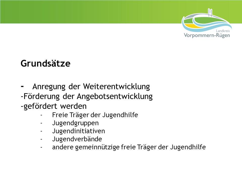 Grundsätze - Anregung der Weiterentwicklung -Förderung der Angebotsentwicklung -gefördert werden -Freie Träger der Jugendhilfe -Jugendgruppen -Jugendi