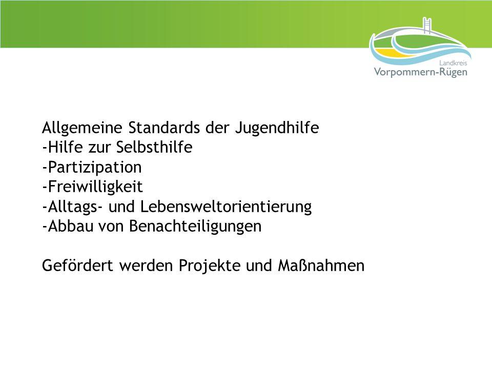Allgemeine Standards der Jugendhilfe -Hilfe zur Selbsthilfe -Partizipation -Freiwilligkeit -Alltags- und Lebensweltorientierung -Abbau von Benachteili
