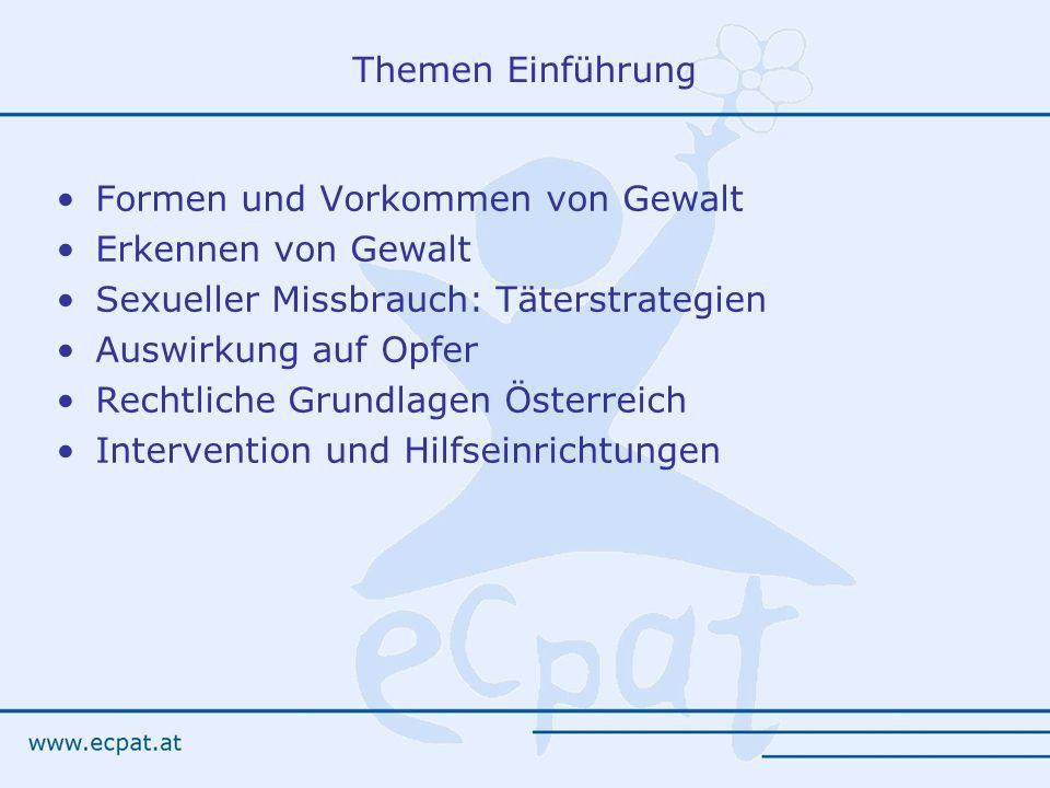Themen Einführung Formen und Vorkommen von Gewalt Erkennen von Gewalt Sexueller Missbrauch: Täterstrategien Auswirkung auf Opfer Rechtliche Grundlagen Österreich Intervention und Hilfseinrichtungen