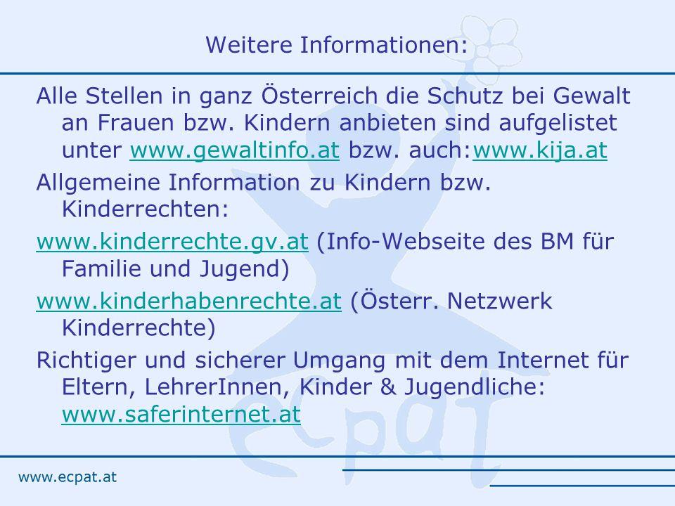 Weitere Informationen: Alle Stellen in ganz Österreich die Schutz bei Gewalt an Frauen bzw.