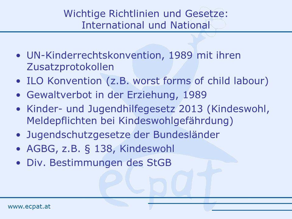 Wichtige Richtlinien und Gesetze: International und National UN-Kinderrechtskonvention, 1989 mit ihren Zusatzprotokollen ILO Konvention (z.B.