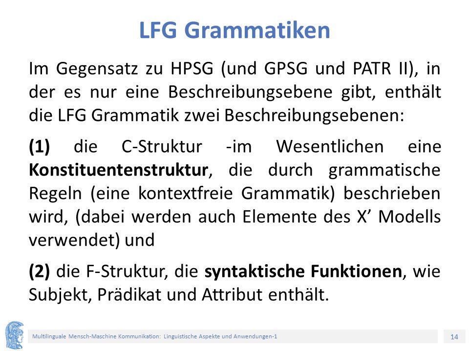 14 Multilinguale Mensch-Maschine Kommunikation: Linguistische Aspekte und Anwendungen-1 LFG Grammatiken Im Gegensatz zu HPSG (und GPSG und PATR II), in der es nur eine Beschreibungsebene gibt, enthält die LFG Grammatik zwei Beschreibungsebenen: (1) die C-Struktur -im Wesentlichen eine Konstituentenstruktur, die durch grammatische Regeln (eine kontextfreie Grammatik) beschrieben wird, (dabei werden auch Elemente des X' Modells verwendet) und (2) die F-Struktur, die syntaktische Funktionen, wie Subjekt, Prädikat und Attribut enthält.