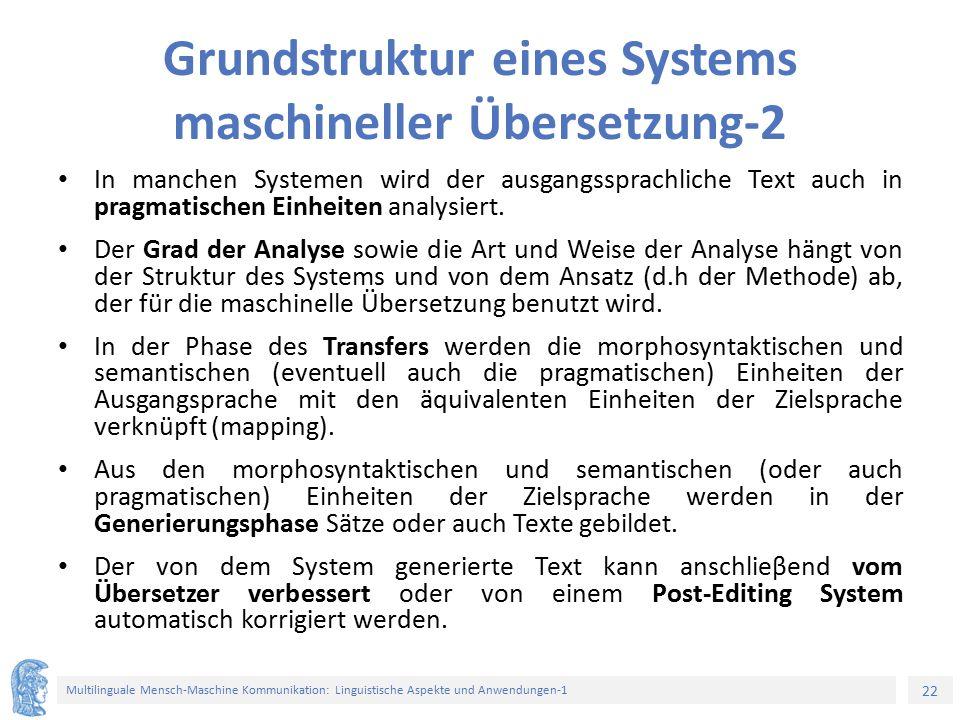 22 Multilinguale Mensch-Maschine Kommunikation: Linguistische Aspekte und Anwendungen-1 Grundstruktur eines Systems maschineller Übersetzung-2 In manchen Systemen wird der ausgangssprachliche Text auch in pragmatischen Einheiten analysiert.