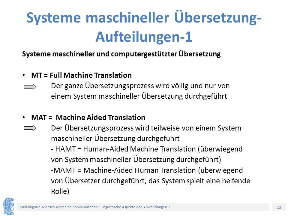 23 Multilinguale Mensch-Maschine Kommunikation: Linguistische Aspekte und Anwendungen-2 Systeme maschineller Übersetzung- Aufteilungen-1 Systeme masch