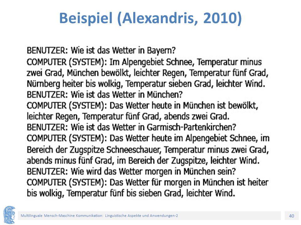 40 Multilinguale Mensch-Maschine Kommunikation: Linguistische Aspekte und Anwendungen-2 Beispiel (Alexandris, 2010)