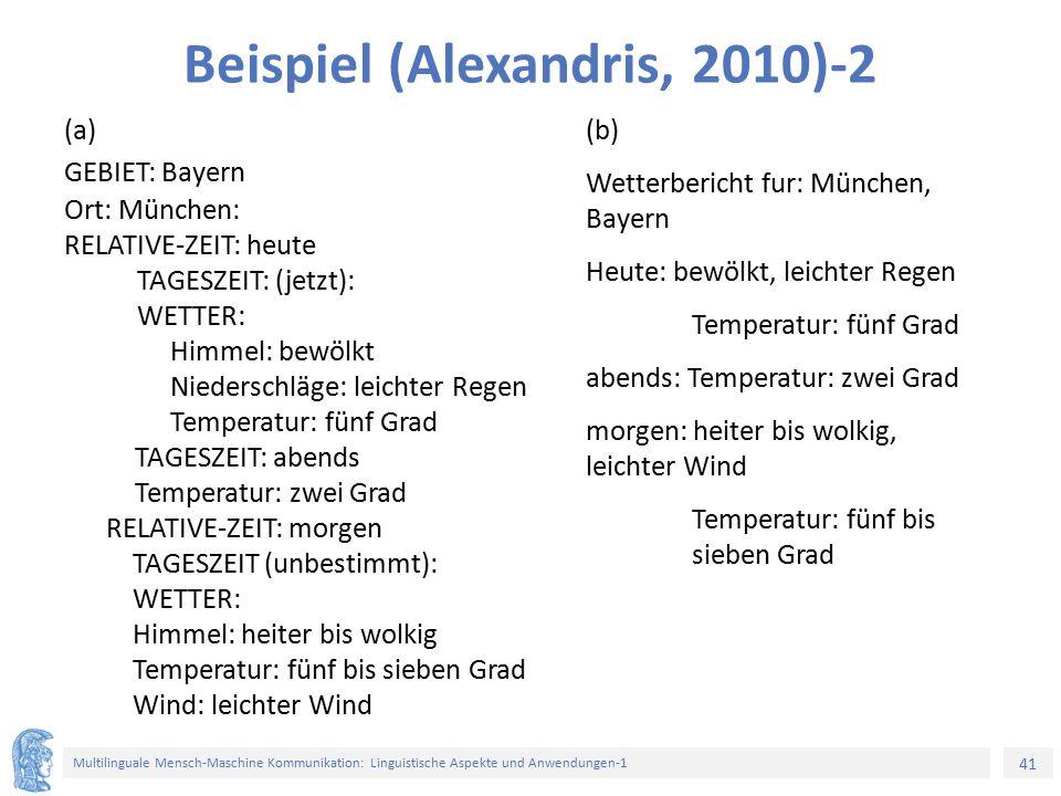 41 Multilinguale Mensch-Maschine Kommunikation: Linguistische Aspekte und Anwendungen-1 Beispiel (Alexandris, 2010)-2 (a) GEBIET: Bayern Ort: München: RELATIVE-ZEIT: heute TAGESZEIT: (jetzt): WETTER: Himmel: bewölkt Niederschläge: leichter Regen Temperatur: fünf Grad TAGESZEIT: abends Temperatur: zwei Grad RELATIVE-ZEIT: morgen TAGESZEIT (unbestimmt): WETTER: Himmel: heiter bis wolkig Temperatur: fünf bis sieben Grad Wind: leichter Wind (b) Wetterbericht fur: München, Bayern Heute: bewölkt, leichter Regen Temperatur: fünf Grad abends: Temperatur: zwei Grad morgen: heiter bis wolkig, leichter Wind Temperatur: fünf bis sieben Grad