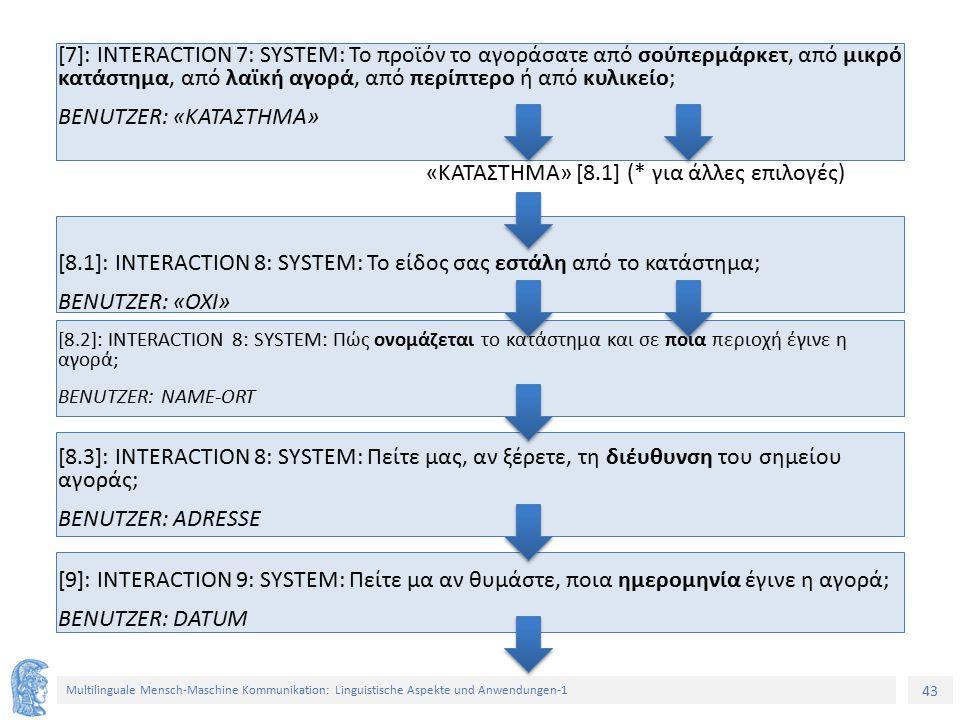 43 Multilinguale Mensch-Maschine Kommunikation: Linguistische Aspekte und Anwendungen-1 [7]: INTERACTION 7: SYSTEM: Το προϊόν το αγοράσατε από σούπερμάρκετ, από μικρό κατάστημα, από λαϊκή αγορά, από περίπτερο ή από κυλικείο; BENUTZER: «ΚΑΤΑΣΤΗΜΑ» [8.1]: INTERACTION 8: SYSTEM: Το είδος σας εστάλη από το κατάστημα; BENUTZER: «ΟΧΙ» [8.2]: INTERACTION 8: SYSTEM: Πώς ονομάζεται το κατάστημα και σε ποια περιοχή έγινε η αγορά; BENUTZER: NAME-ORT [8.3]: INTERACTION 8: SYSTEM: Πείτε μας, αν ξέρετε, τη διέυθυνση του σημείου αγοράς; BENUTZER: ADRESSE [9]: INTERACTION 9: SYSTEM: Πείτε μα αν θυμάστε, ποια ημερομηνία έγινε η αγορά; BENUTZER: DATUM «ΚΑΤΑΣΤΗΜΑ» [8.1] (* για άλλες επιλογές)
