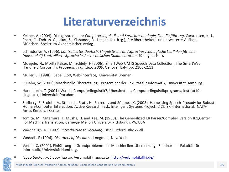 45 Multilinguale Mensch-Maschine Kommunikation: Linguistische Aspekte und Anwendungen-1 Literaturverzeichnis  Kellner, A. (2004). Dialogsysteme. In: